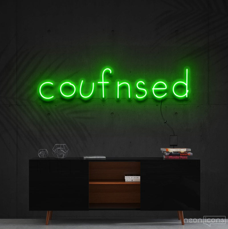 """Confused"" Neon Sign 60cm (2ft) / Green / Cut to Shape by Neon Icons"