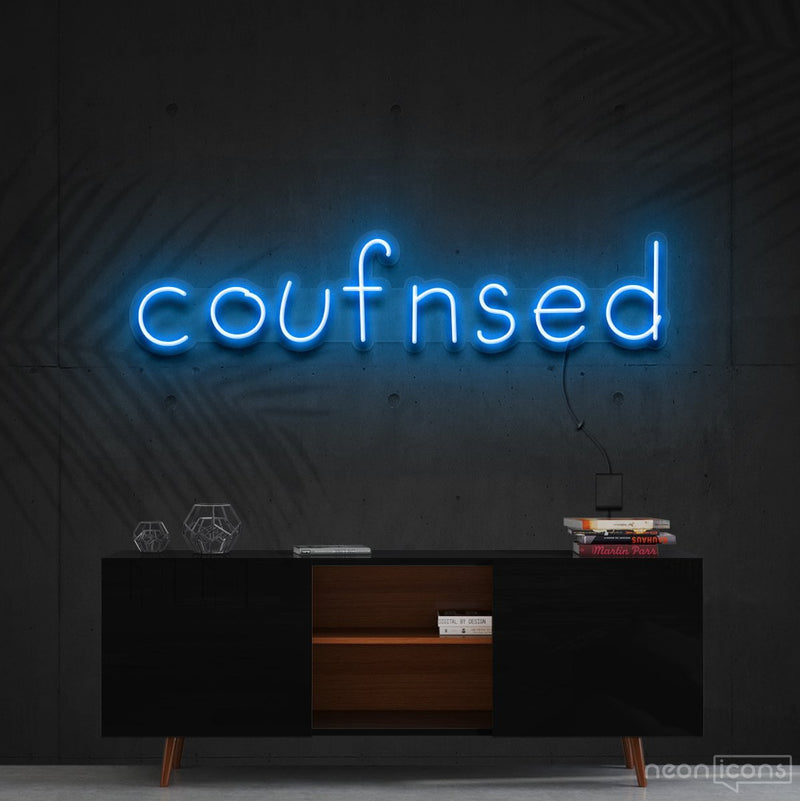 """Confused"" Neon Sign 60cm (2ft) / Ice Blue / Cut to Shape by Neon Icons"
