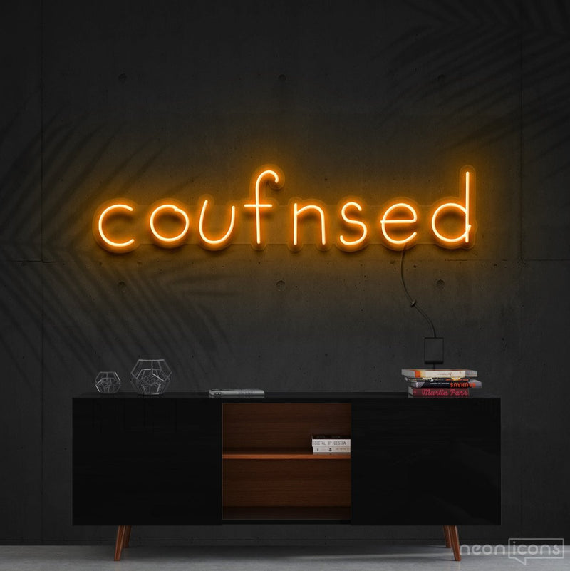 """Confused"" Neon Sign 60cm (2ft) / Orange / Cut to Shape by Neon Icons"