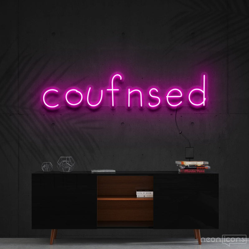 """Confused"" Neon Sign 60cm (2ft) / Pink / Cut to Shape by Neon Icons"