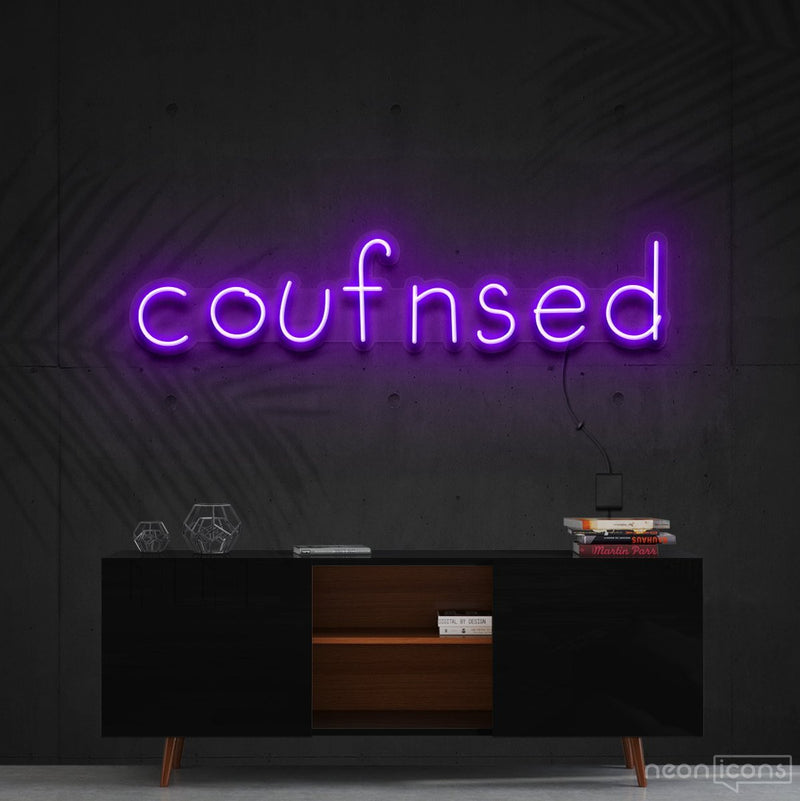 """Confused"" Neon Sign 60cm (2ft) / Purple / Cut to Shape by Neon Icons"