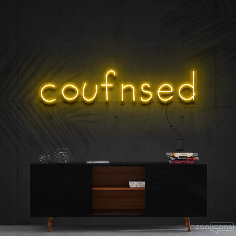"""Confused"" Neon Sign 60cm (2ft) / Yellow / Cut to Shape by Neon Icons"