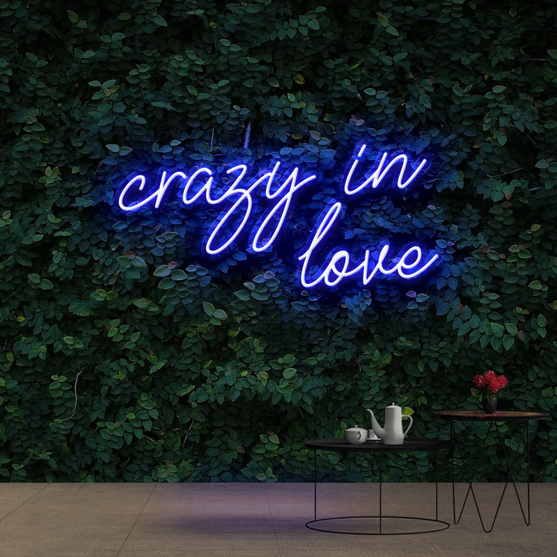 """Crazy In Love"" Neon Sign 60cm (2ft) / Blue / Cut to Shape by Neon Icons"