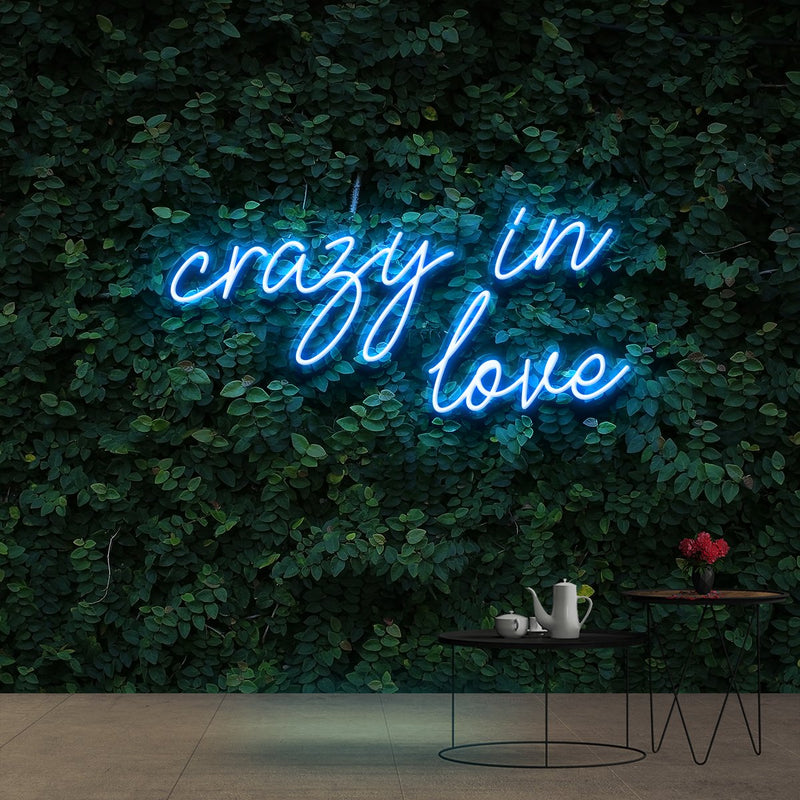 """Crazy In Love"" Neon Sign 60cm (2ft) / Ice Blue / Cut to Shape by Neon Icons"