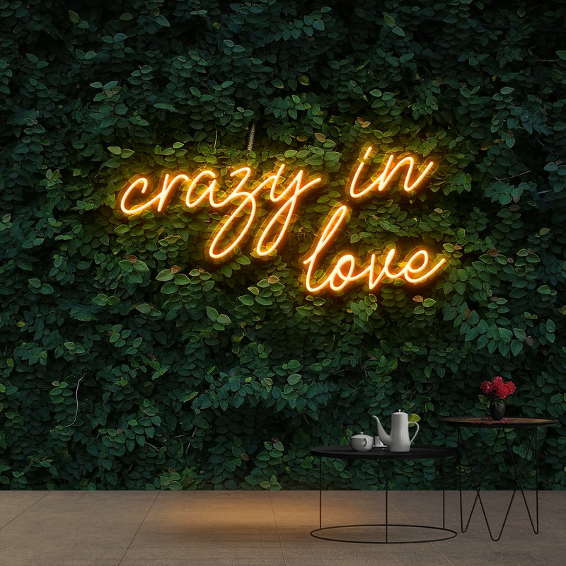 """Crazy In Love"" Neon Sign 60cm (2ft) / Orange / Cut to Shape by Neon Icons"