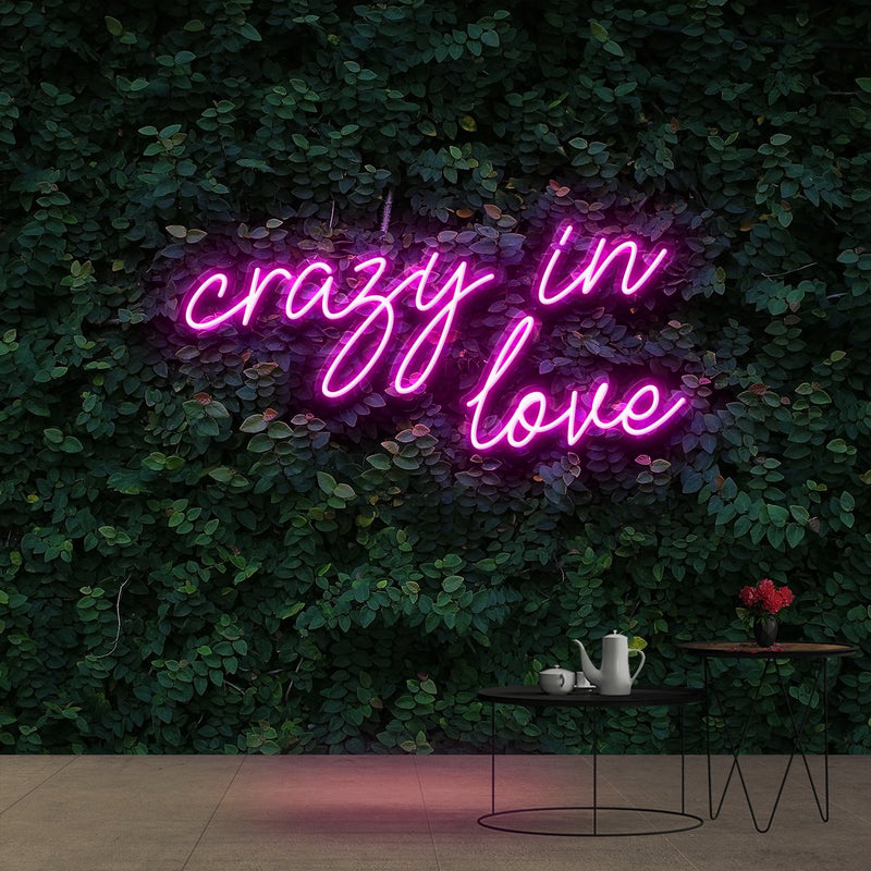 """Crazy In Love"" Neon Sign 60cm (2ft) / Pink / Cut to Shape by Neon Icons"