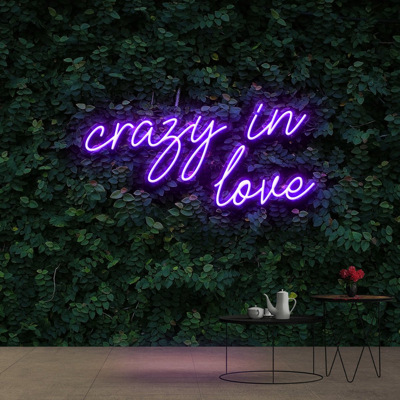 """Crazy In Love"" Neon Sign 60cm (2ft) / Purple / Cut to Shape by Neon Icons"