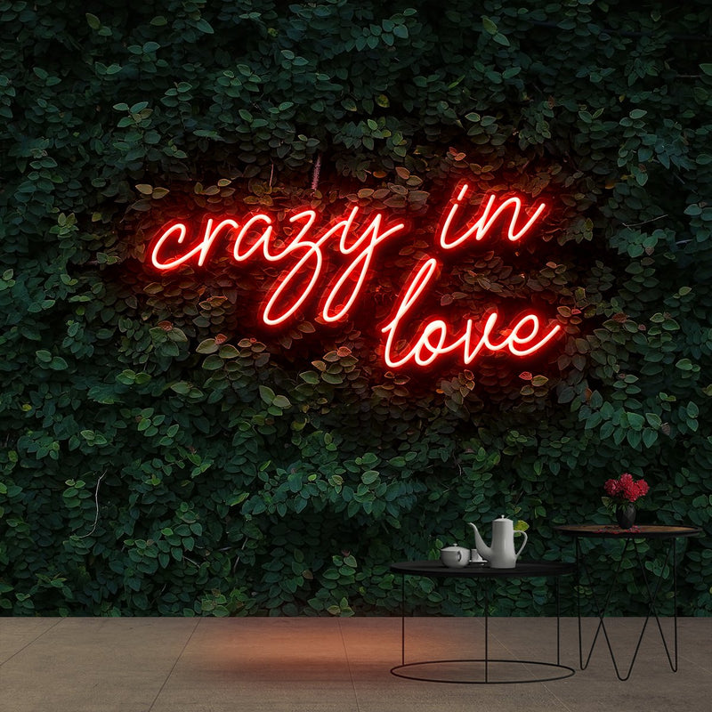 """Crazy In Love"" Neon Sign 60cm (2ft) / Red / Cut to Shape by Neon Icons"