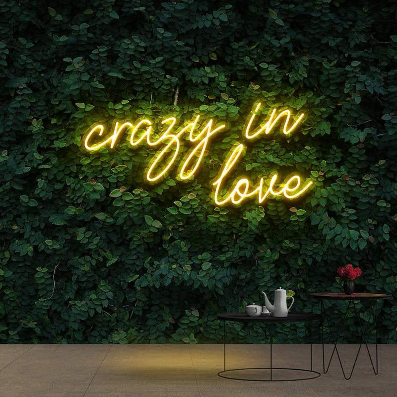 """Crazy In Love"" Neon Sign 60cm (2ft) / Yellow / Cut to Shape by Neon Icons"