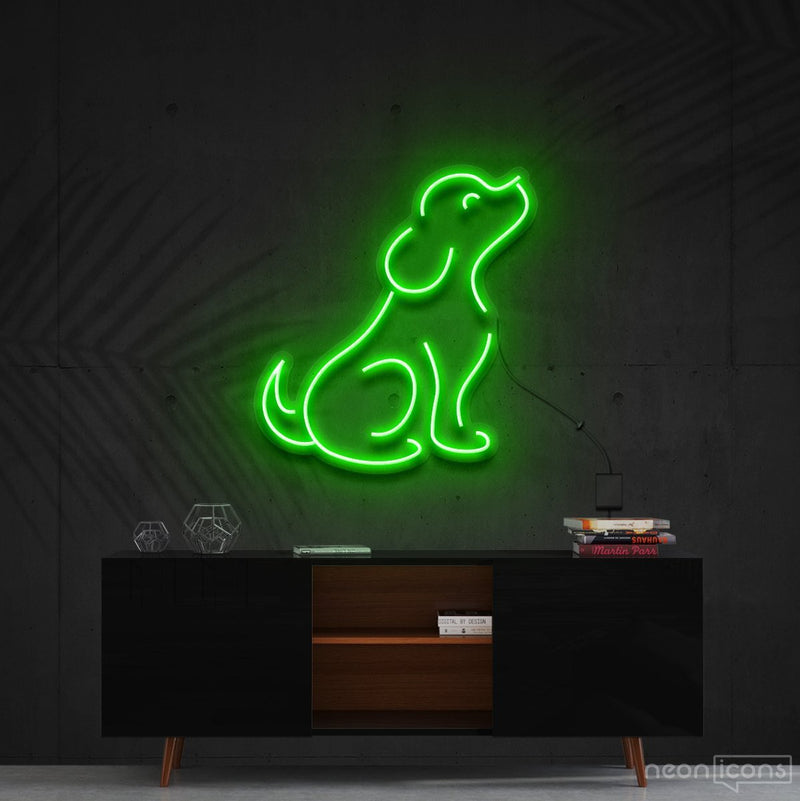"""Curious Dog"" Neon Sign 60cm (2ft) / Green / Cut to Shape by Neon Icons"