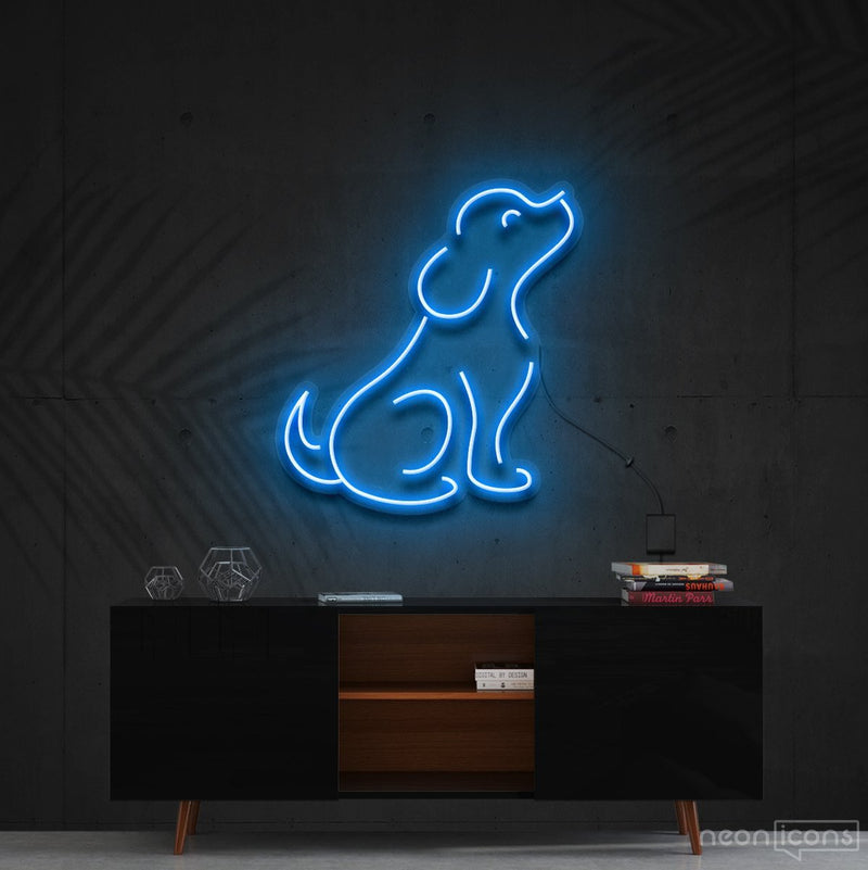 """Curious Dog"" Neon Sign 60cm (2ft) / Ice Blue / Cut to Shape by Neon Icons"
