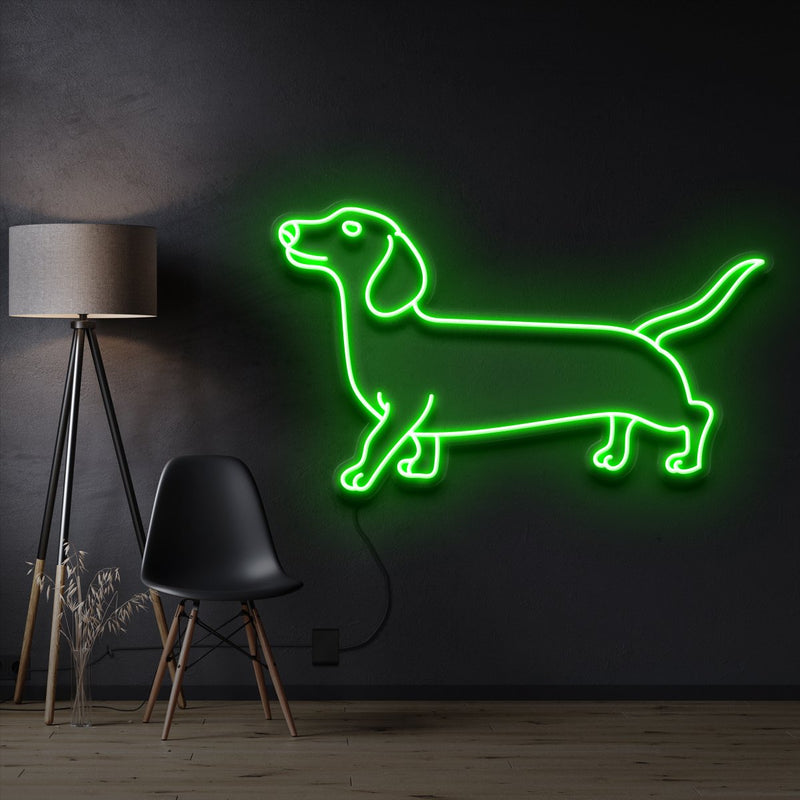 """Dachshund"" Pet Neon Sign 60cm / Green / Cut to Shape by Neon Icons"