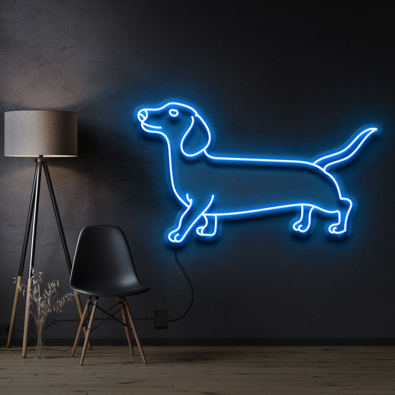 """Dachshund"" Pet Neon Sign 60cm / Ice Blue / Cut to Shape by Neon Icons"