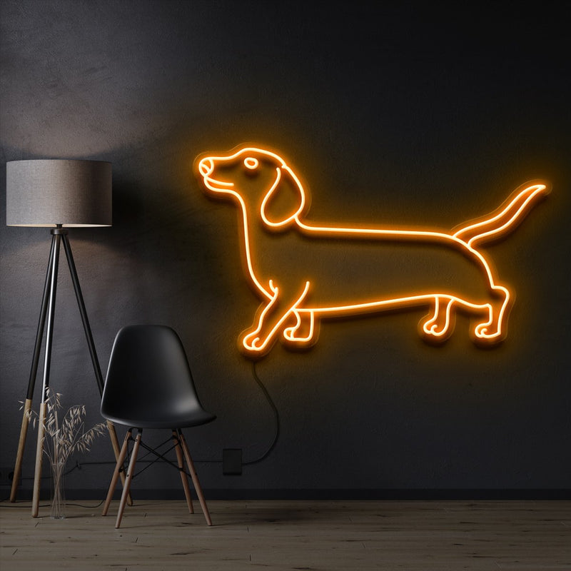 """Dachshund"" Pet Neon Sign 60cm / Orange / Cut to Shape by Neon Icons"