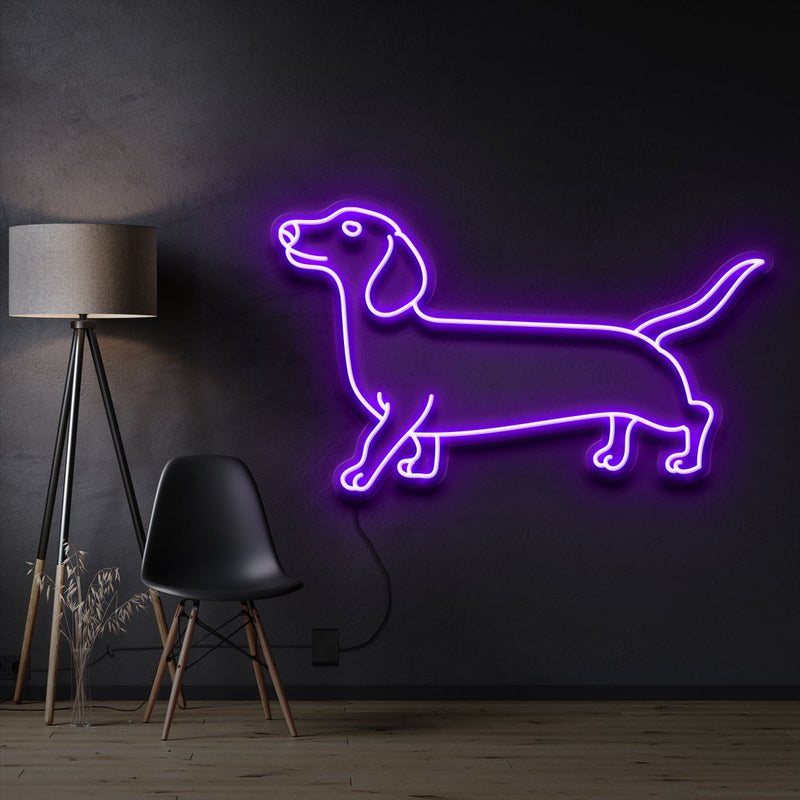 """Dachshund"" Pet Neon Sign 60cm / Purple / Cut to Shape by Neon Icons"