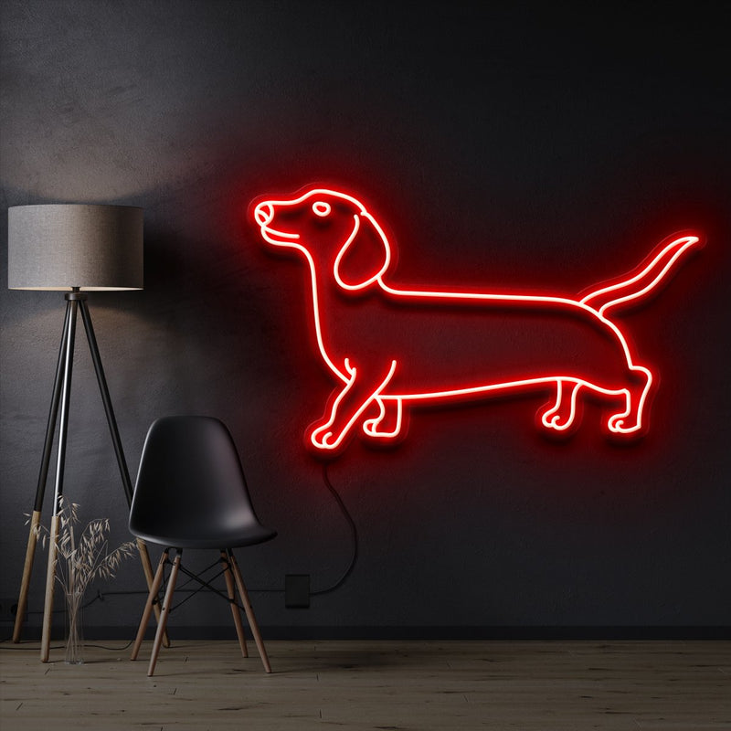 """Dachshund"" Pet Neon Sign 60cm / Red / Cut to Shape by Neon Icons"