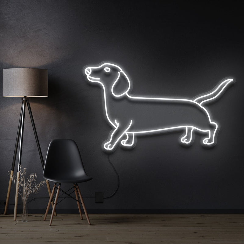 """Dachshund"" Pet Neon Sign 60cm / White / Cut to Shape by Neon Icons"