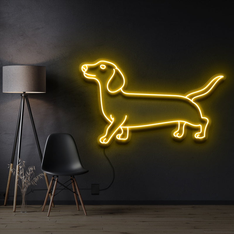 """Dachshund"" Pet Neon Sign 60cm / Yellow / Cut to Shape by Neon Icons"