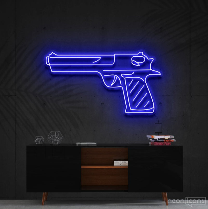 """Desert Eagle"" Neon Sign 60cm (2ft) / Blue / Cut to Shape by Neon Icons"