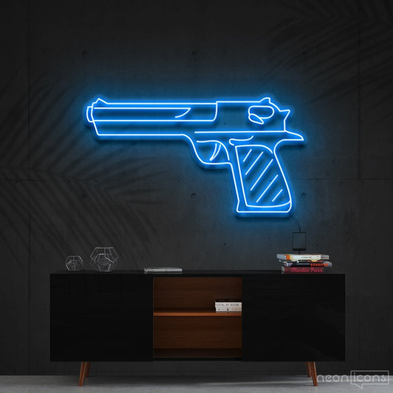 """Desert Eagle"" Neon Sign 60cm (2ft) / Ice Blue / Cut to Shape by Neon Icons"