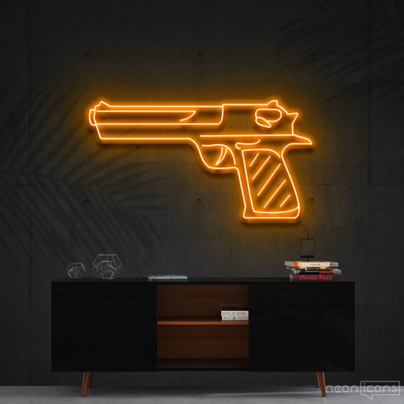 """Desert Eagle"" Neon Sign 60cm (2ft) / Orange / Cut to Shape by Neon Icons"