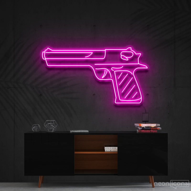 """Desert Eagle"" Neon Sign 60cm (2ft) / Pink / Cut to Shape by Neon Icons"