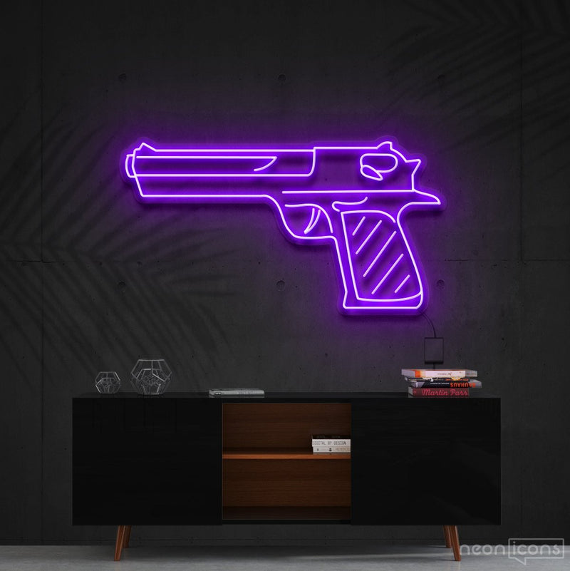 """Desert Eagle"" Neon Sign 60cm (2ft) / Purple / Cut to Shape by Neon Icons"