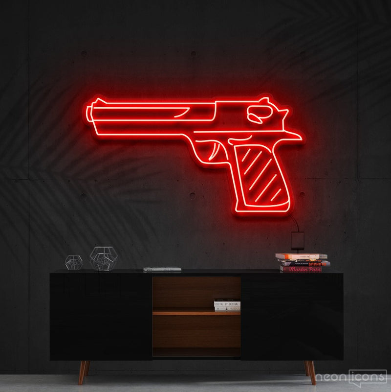 """Desert Eagle"" Neon Sign 60cm (2ft) / Red / Cut to Shape by Neon Icons"