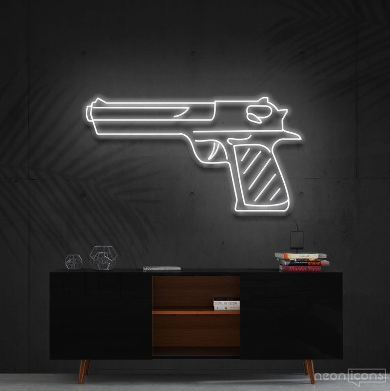 """Desert Eagle"" Neon Sign 60cm (2ft) / White / Cut to Shape by Neon Icons"