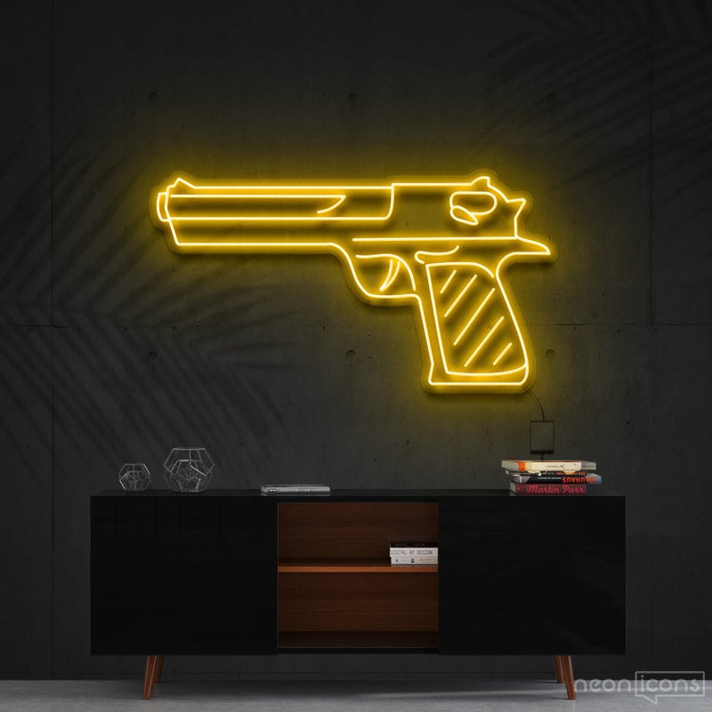 """Desert Eagle"" Neon Sign 60cm (2ft) / Yellow / Cut to Shape by Neon Icons"
