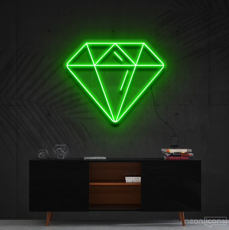 """Diamond"" Neon Sign 60cm (2ft) / Green / Cut to Shape by Neon Icons"