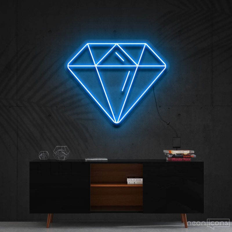 """Diamond"" Neon Sign 60cm (2ft) / Ice Blue / Cut to Shape by Neon Icons"