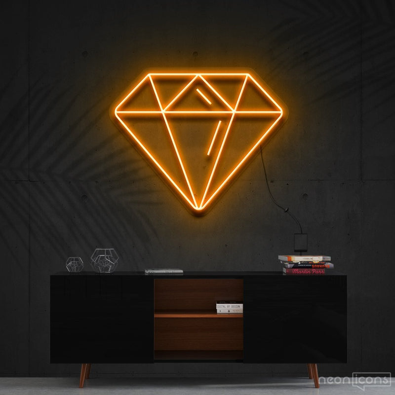 """Diamond"" Neon Sign 60cm (2ft) / Orange / Cut to Shape by Neon Icons"