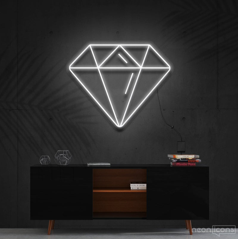 """Diamond"" Neon Sign 60cm (2ft) / White / Cut to Shape by Neon Icons"