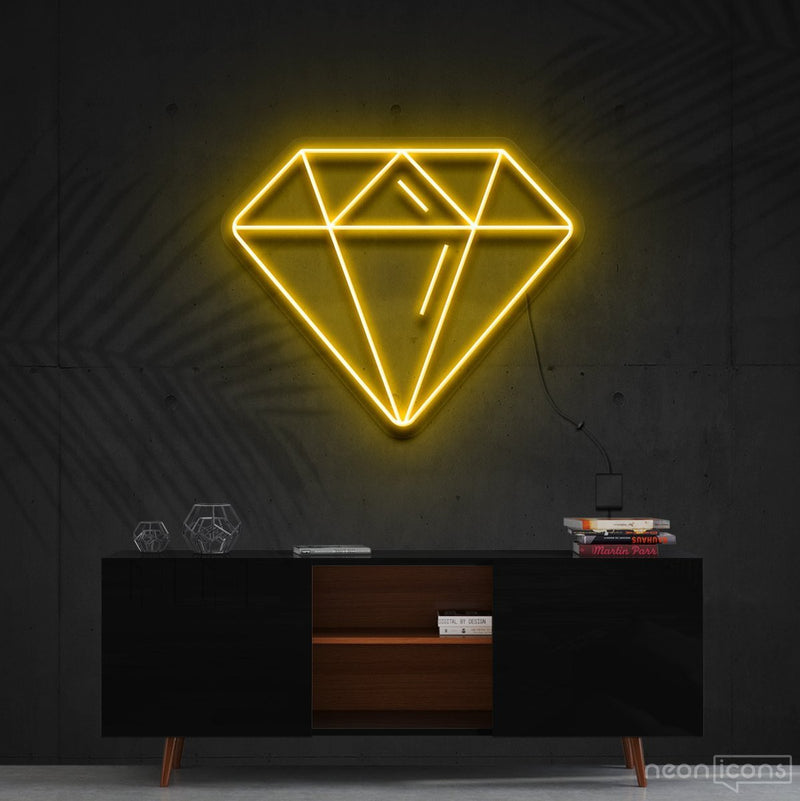 """Diamond"" Neon Sign 60cm (2ft) / Yellow / Cut to Shape by Neon Icons"