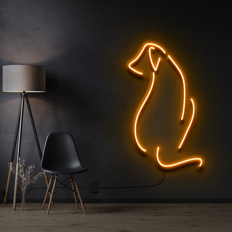 """Dog Facing Away"" Pet Neon Sign 60cm / Orange / Cut to Shape by Neon Icons"