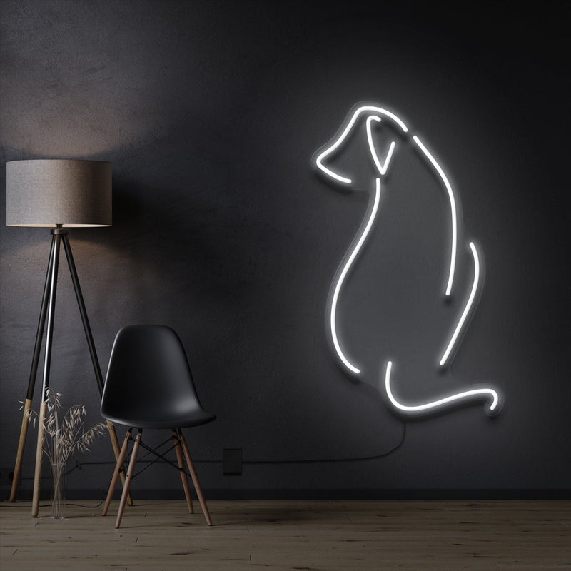 """Dog Facing Away"" Pet Neon Sign 60cm / White / Cut to Shape by Neon Icons"
