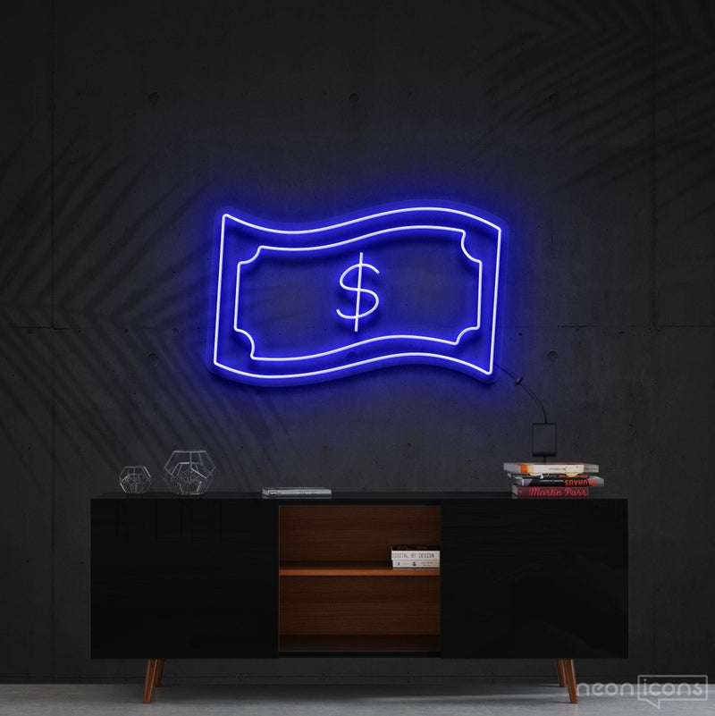 """Dollar Bill"" Neon Sign 60cm (2ft) / Blue / Cut to Shape by Neon Icons"