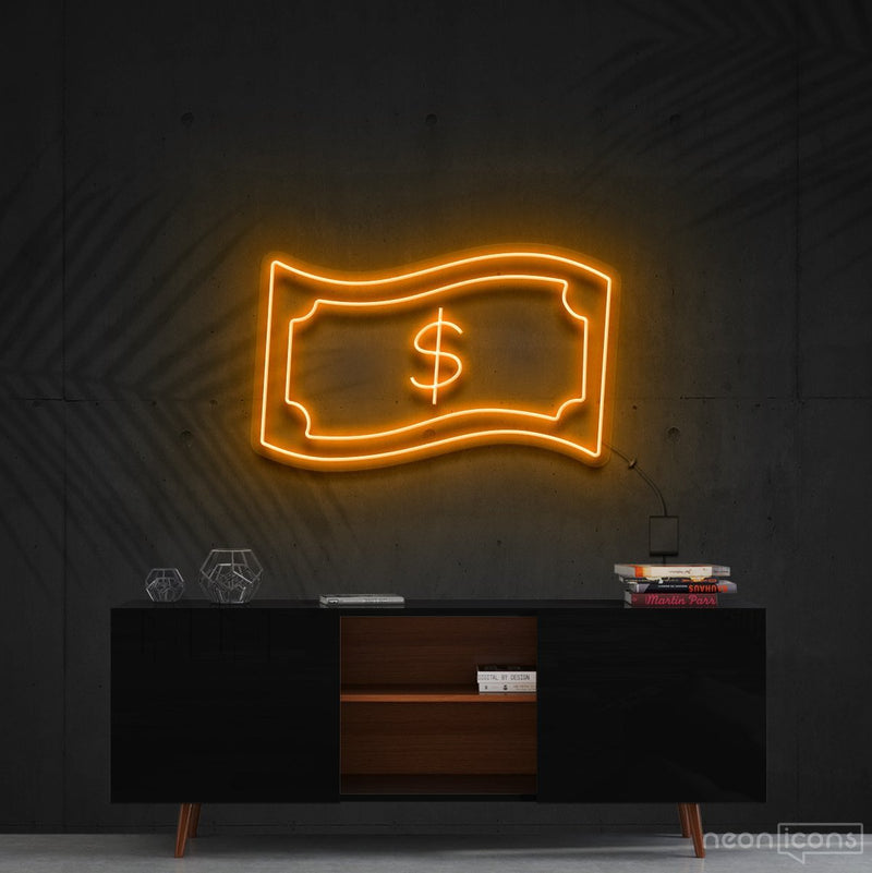 """Dollar Bill"" Neon Sign 60cm (2ft) / Orange / Cut to Shape by Neon Icons"