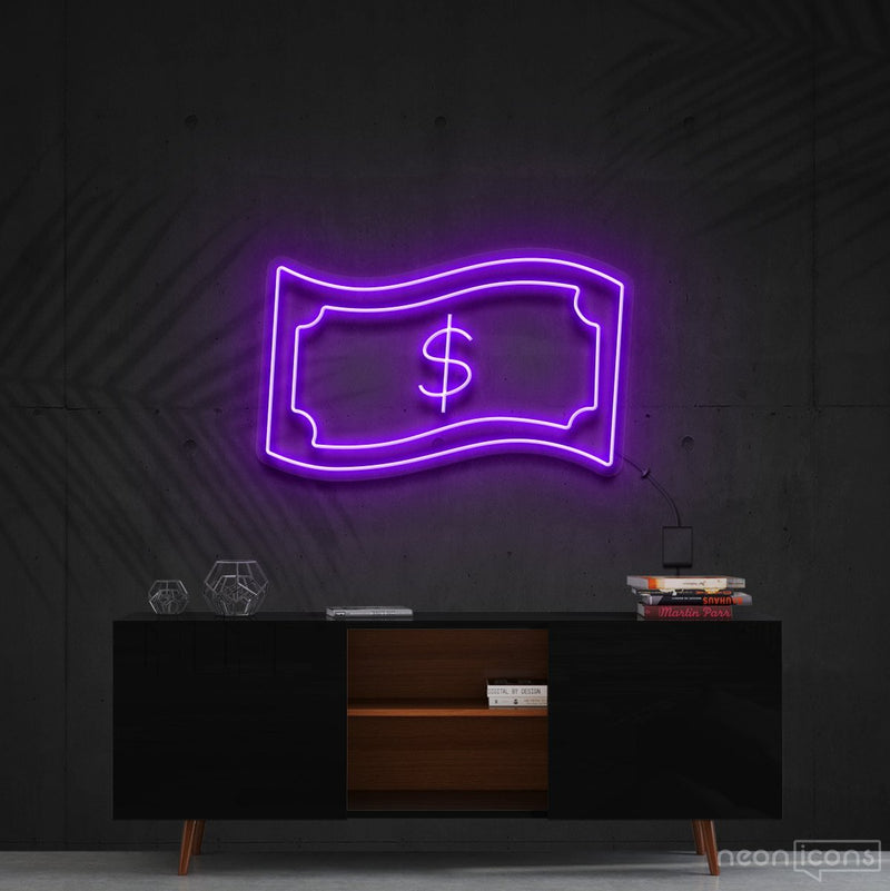 """Dollar Bill"" Neon Sign 60cm (2ft) / Purple / Cut to Shape by Neon Icons"