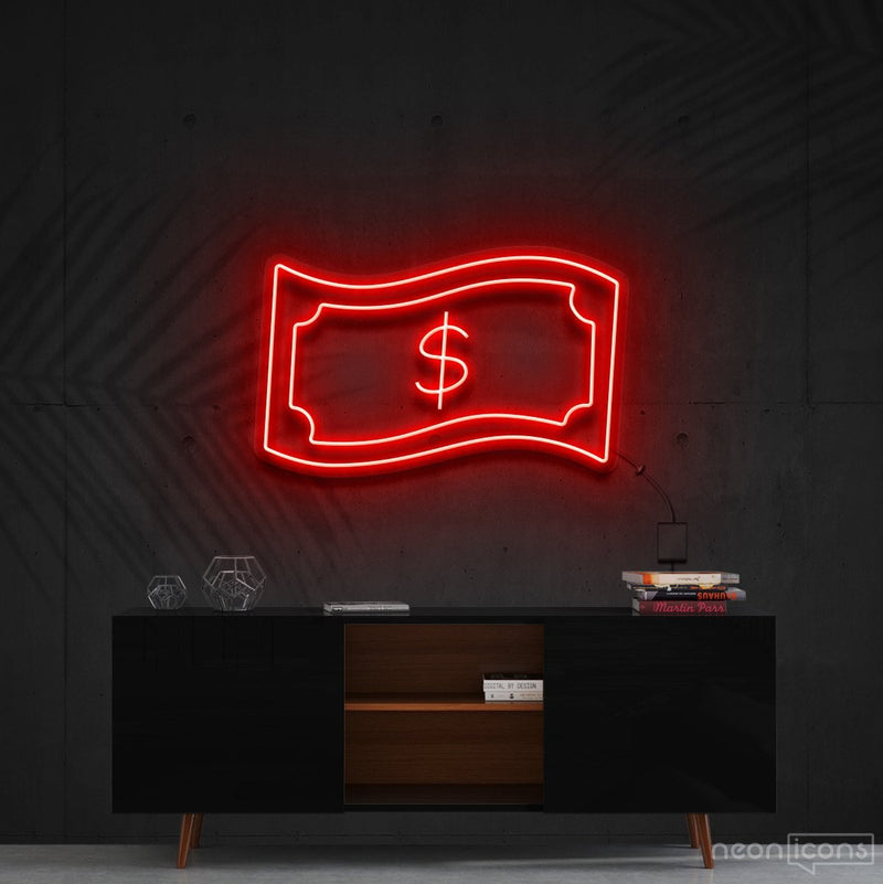 """Dollar Bill"" Neon Sign 60cm (2ft) / Red / Cut to Shape by Neon Icons"