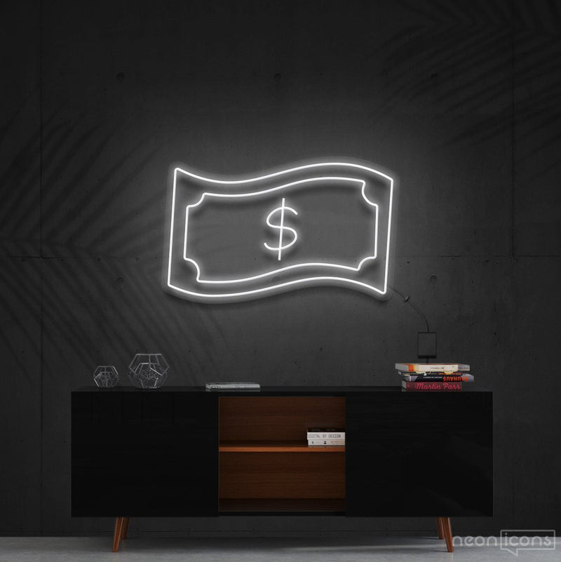 """Dollar Bill"" Neon Sign 60cm (2ft) / White / Cut to Shape by Neon Icons"
