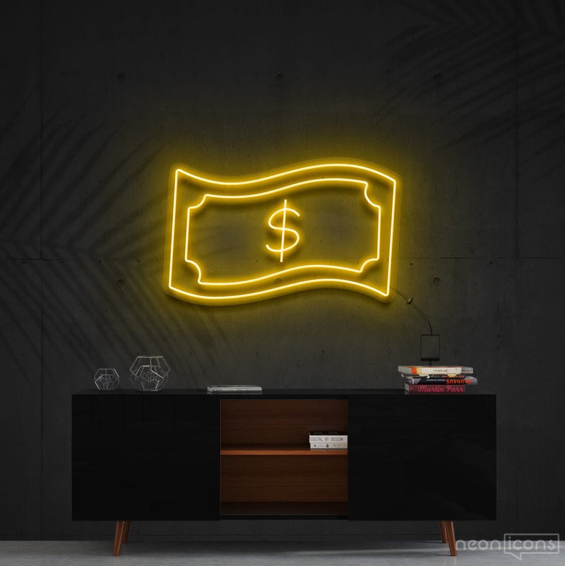 """Dollar Bill"" Neon Sign 60cm (2ft) / Yellow / Cut to Shape by Neon Icons"