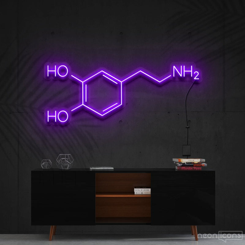 """Dopamine Molecule"" Neon Sign 90cm (3ft) / Purple / Cut to Shape by Neon Icons"
