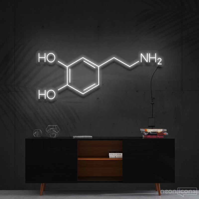 """Dopamine Molecule"" Neon Sign 90cm (3ft) / White / Cut to Shape by Neon Icons"