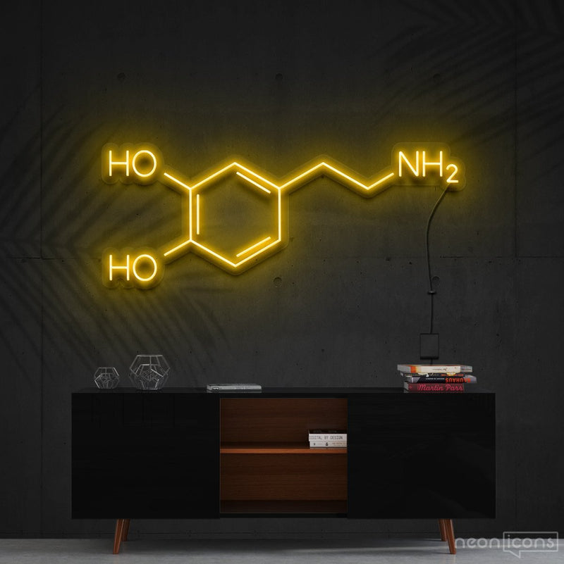 """Dopamine Molecule"" Neon Sign 90cm (3ft) / Yellow / Cut to Shape by Neon Icons"
