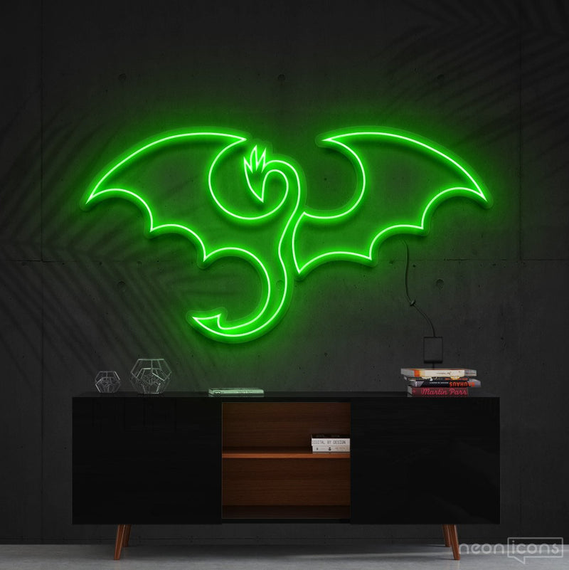 """Dragon"" Neon Sign 60cm (2ft) / Green / Cut to Shape by Neon Icons"
