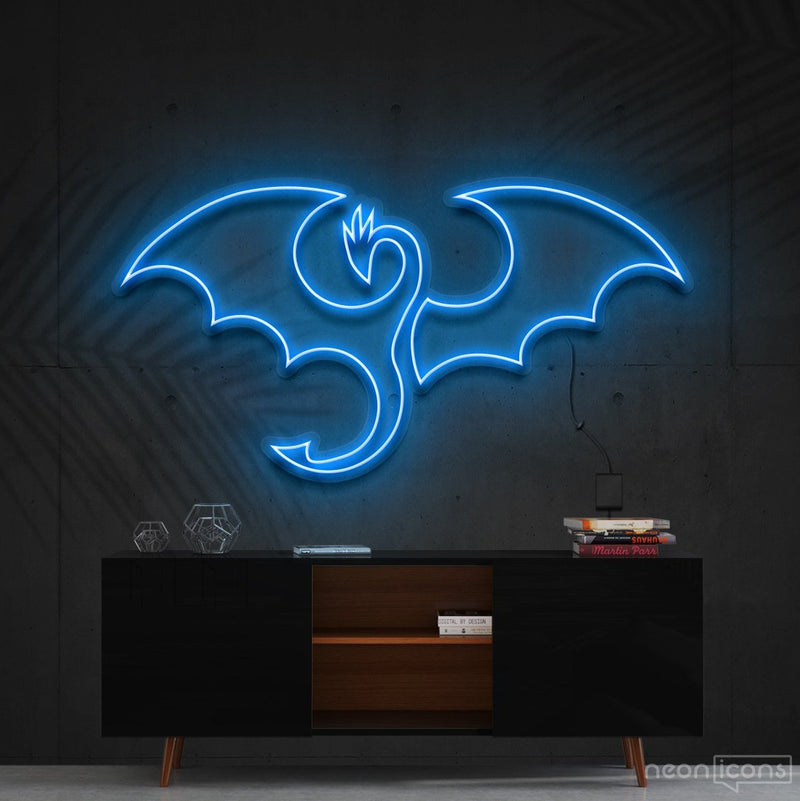 """Dragon"" Neon Sign 60cm (2ft) / Ice Blue / Cut to Shape by Neon Icons"