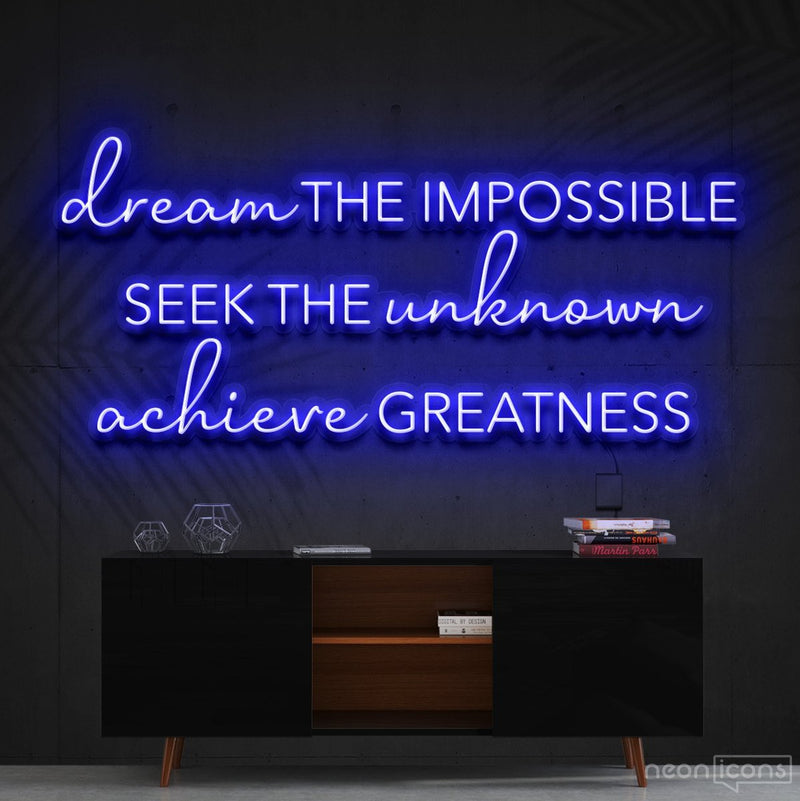"""Dream The Impossible"" Neon Sign 90cm (3ft) / Blue / Cut to Shape by Neon Icons"