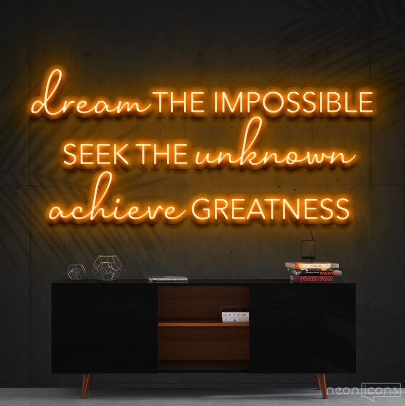 """Dream The Impossible"" Neon Sign 90cm (3ft) / Orange / Cut to Shape by Neon Icons"